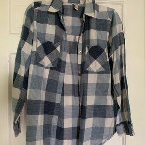 White and blue flannel